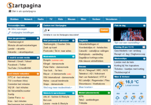 Screenshot van Startpagina website